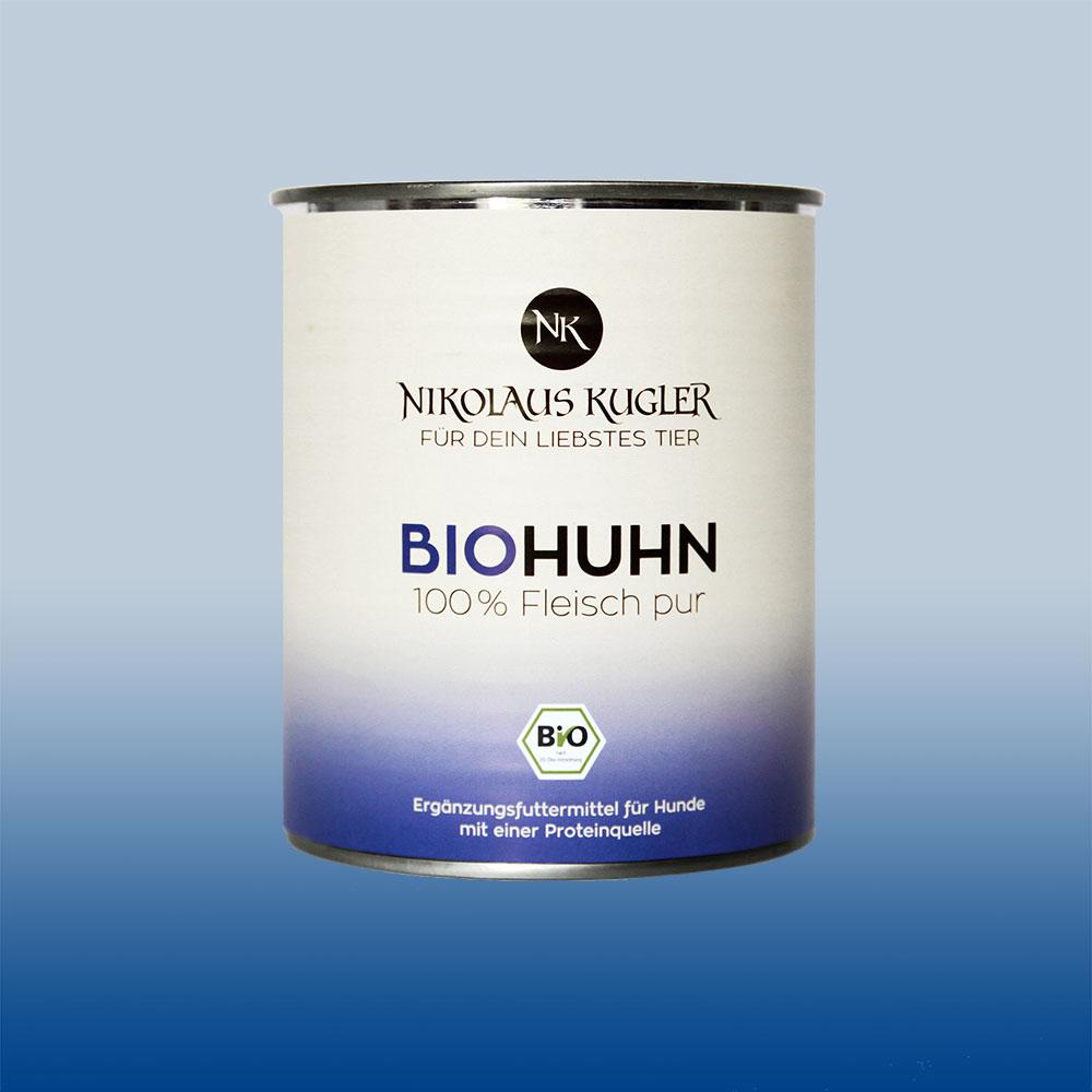 Nikolaus Kugler Bio Tiernahrung Bio Hundefutter Bio Huhn pur 100% Hühnerfleischfleisch 800g