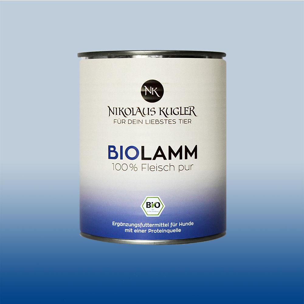 Nikolaus Kugler Bio Tiernahrung Bio Hundefutter Bio Lamm pur 100% Lammfleisch 800g