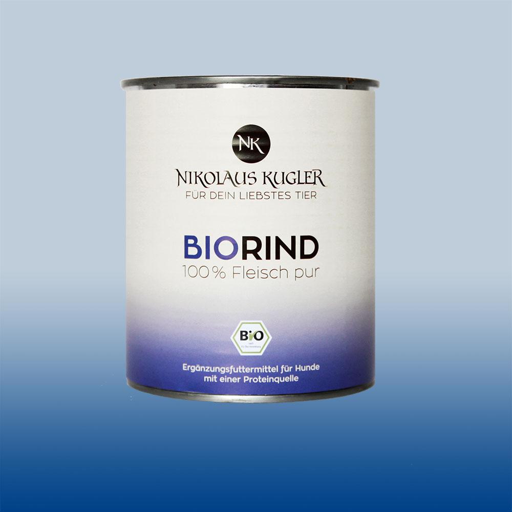 Nikolaus Kugler Bio Tiernahrung Bio Hundefutter Bio Rind pur 100% Rindfleisch 800g