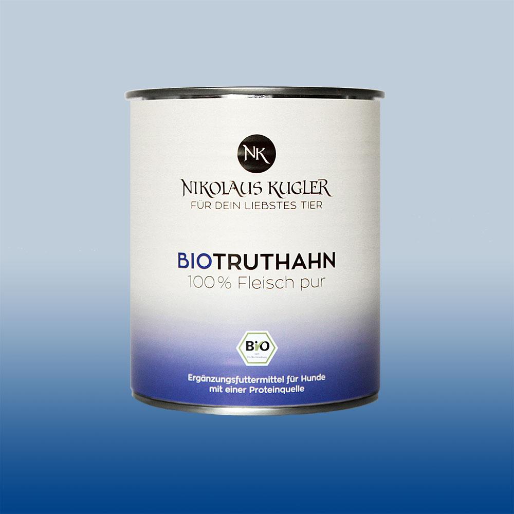 Nikolaus Kugler Bio Tiernahrung Bio Hundefutter Bio Truthahn pur 100% Truthahnfleisch 800g