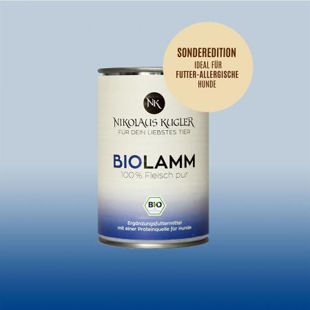 Nikolaus Kugler Bio Tiernahrung bio Hundefutter Bio Lamm fuer sensible und futterallergische Hunde 400g