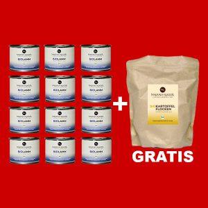 Sparpaket Nikolaus Kugler Bio Hundefutter 12er Bio Lamm pur a 200g+gratis Kohlenhydrate