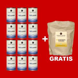 Sparpaket Nikolaus Kugler Bio Hundefutter 12er Bio Lamm pur a 400g+gratis Kohlenhydrate
