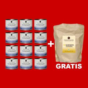 Sparpaket Nikolaus Kugler Bio Hundefutter 12er Bio Truthahn a 200g+gratis Kartoffelflocken 200g