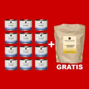 Sparpaket Nikolaus Kugler Bio Hundefutter 12er Bio Ziege pur a 200g+gratis Kohlenhydrate