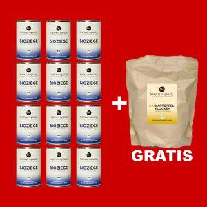 Sparpaket Nikolaus Kugler Bio Hundefutter 12er Bio Ziege pur a 400g+gratis Kohlenhydrate