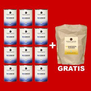 Sparpaket Nikolaus Kugler Bio Hundefutter 12er Bio Ziege pur a 800g+gratis Kohlenhydrate
