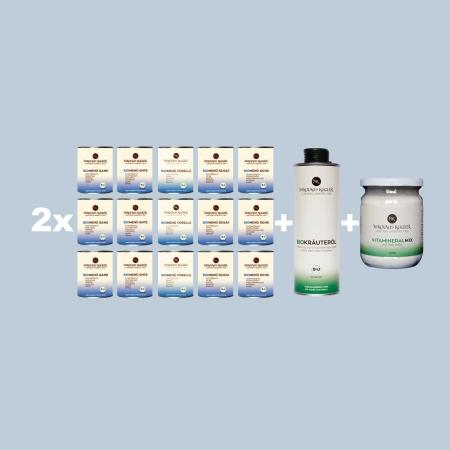 Nikolaus Kugler bio hundefutter 2xSchlapp-Schlapp-BioMenue paket-800g-Bio kräuteröl 500ml-Vitamineralmix 500g