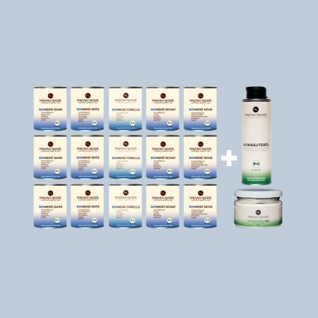 Nikolaus Kugler bio hundefutter Schlapp-Schlapp-BioMenue paket-800g-Bio kräuteröl 250ml-Vitamineralmix 250g
